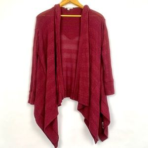 AEO | Waterfall Cardigan Hood Wine Burgundy Duster